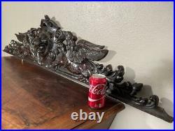 Impressive 5 Foot Antique French Gothic Crest/Pediment with Lion & Griffins