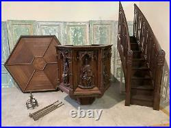 Incredible Carved Oak Gothic Religious Pulpit From A Church In Europe -bae20