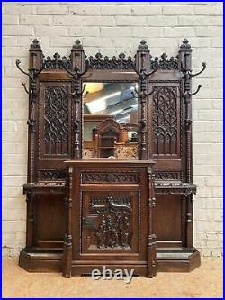 Incredible Carved Oak Gothic Special Hall Tree Dh9