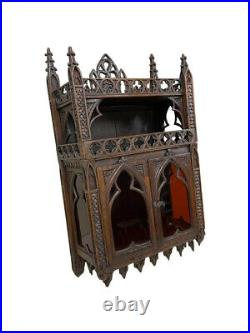 Interesting Antique French Gothic Wall Cabinet, Oak, 19th Century, Architectural
