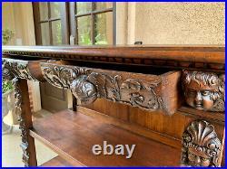 LARGE Antique French Carved Oak Renaissance Server Sideboard Bookshelf Gothic