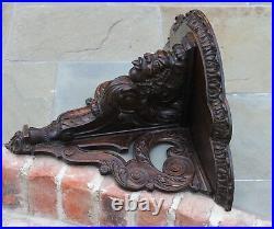 LARGE Antique French Oak Wall Shelf Corbel Bracket GOTHIC Hand Carved Figural