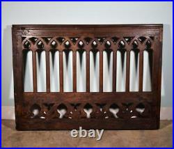 Large Antique French Gothic Highly Carved Panel/Rail/Headboard in Oak Wood