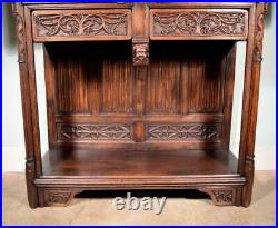 Large Antique French Gothic Revival Cabinet Highly Carved in Oak