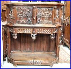 Large Carved Antique French Oak Gothic Cabinet Case