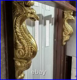 Large Dragon Corbel, Antique gold paint Wooden Corbel, Fireplace Surround