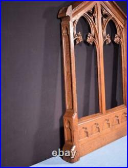 Large French Antique Gothic Revival Panel/Frame in Solid Oak Wood Salvage