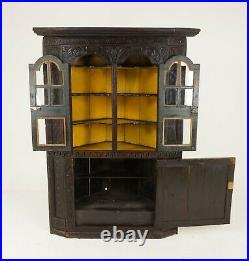 Large Georgian Carved Gothic Oak Corner Cabinet Cupboard, Scotland 1780, B2148