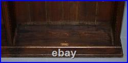 Large Victorian School Oak & Mahogany Bookcase Original Subject Plates & Leather