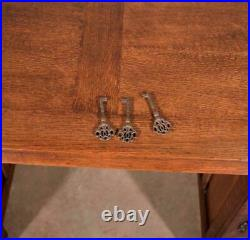 Large Vintage French Neo Gothic Oak Partners Desk with Linen Fold Carvings