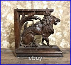 Lion scroll wood carving corbel bracket Antique french architectural salvage