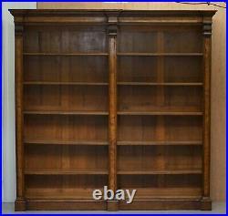 Lovely Antique Victorian Cir 1880 Pollard Oak Double Bank Open Library Bookcase
