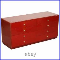MID Century Modern Oak & Bakelite Vintage Chest Of Drawers In Red Seriously Cool