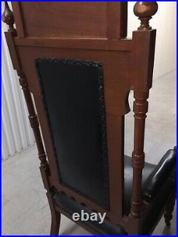 MUST SELL REDUCED. Gothic Church Altar Bishop Antique Kings Chair 6 Tall 1890s