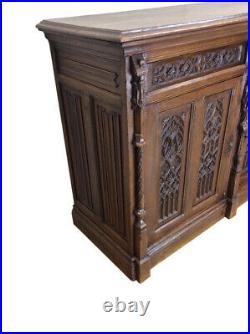 Magnificently Carved French Gothic Server, Sideboard, Credenza, Oak, 19th Century