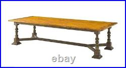New Custom Made French Italian Gothic Carved Ten foot Oak Dining Tavern Table