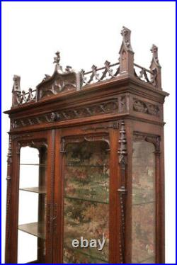 Nice Narrow French Gothic Display Cabinet, Glass Shelves, 19th Century, Oak