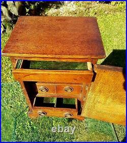 Oak Victorian Jewellery Box / Trinket Cabinet