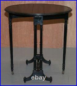 Original Antique Victorian Extending Oval Sunderland Side Table Ebonised