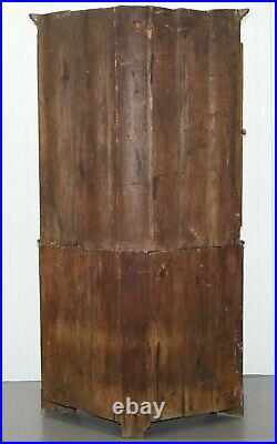 Original Circa 1840 Victorian Honey Oak Corner Cupboard Bookcase Brass Handles