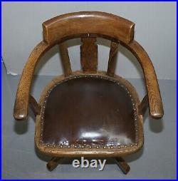 Original English Circa 1900 Edwardian Directors Office Captains Armchair In Oak