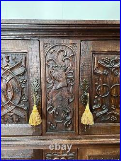 Outstanding French Gothic Cabinet, Oak, 1920's, Tracery & Linen Fold Carvings