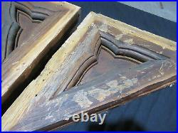 PAIR ANTIQUE GOTHIC OAK CORBELS 16 x 14 ARCHITECTURAL SALVAGE
