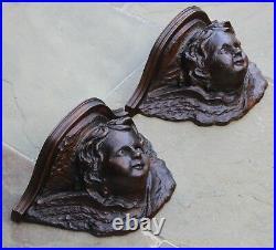 PAIR Antique French Oak Wall Shelves Corbels Angels Cherubs GOTHIC Victorian
