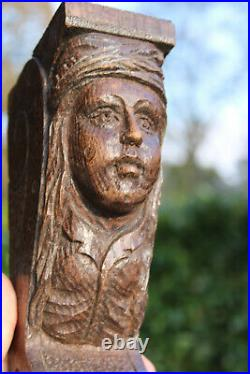 PAIR french wood carved oak gothic figural ornaments man woman portrait head