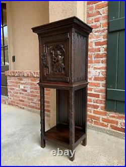 PETITE Antique French Carved Oak Gothic Vestment Cabinet Display Bookcase 19th c