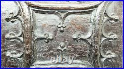 Pair 17th Century Gothic carved oak panels, solid Medieval style fleur-de-lis