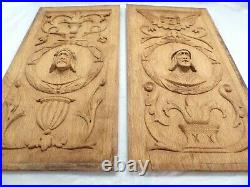 Pair Antique French Carved Solid Wood OAK Doors Panels Salvage Medieval Gothic 6