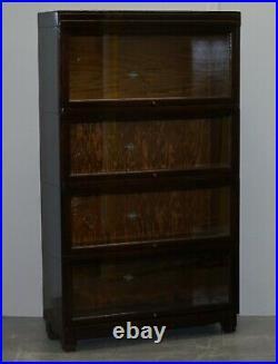 Pair Of Circa 1900 Oak Modular Globe Wernicke Antique Stacking Legal Bookcases