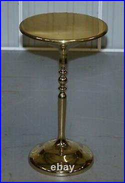 Pair Of Gold Plated Vintage Side Tables On Solid Oak Bases Part Of Large Suite