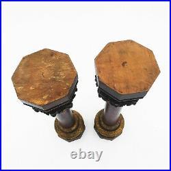 Pair Of Hand Crafted Oak Gothic Flemish Columns 1900s Gilded Belgium