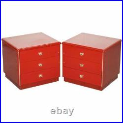 Pair Of MID Century Modern Oak & Bakelite Vintage Chest Of Drawers Side Tables