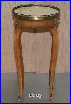 Pair Of Oval Oak Single Drawer Marble Topped Brass Gallery Rail Side End Tables