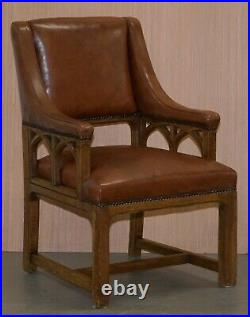 Pair Of Victorian Gothic Revival Pugin Style Throne Armchairs Lovely Carved Wood