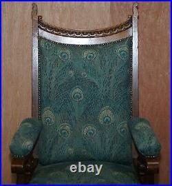 Pair Of Victorian Libertys London Oak, Hera Upholstery Library Reading Armchairs
