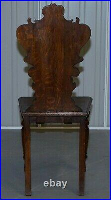 Pair Of Vintage English Oak Occasional Hall Chairs Depicting King & Gentleman