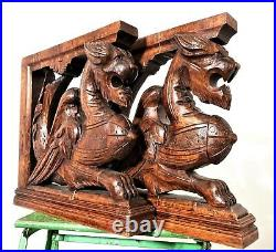 Pair architectural griffin corbel bracket Antique french salvaged wood carving