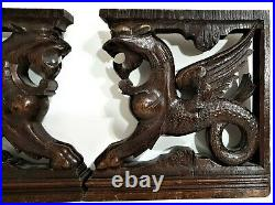 Pair dragon chimera carving corbel bracket antique french salvaged sculpture