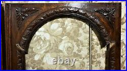 Pair gothic flower carving cabinet door Antique french architectural salvage