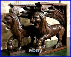 Pair lion decorative carving corbel bracket Antique french architectural salvage