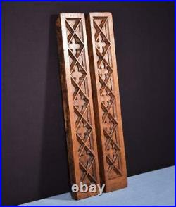 Pair of Antique Gothic Carved Architectural Panels/Trim in Solid Oak Wood