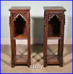 Pair of Antique Gothic French Highly Carved Nightstands/End Tables Solid Oak