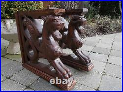 Pair of Antique hand Carved Wood Corbel Gothic winged Gargoyle Chimera 19th C
