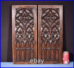 Pair of French Antique Gothic Revival Panels in Oak Wood Salvage