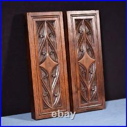 Pair of Gothic Carved Architectural Panels in Solid Walnut and Oak Wood