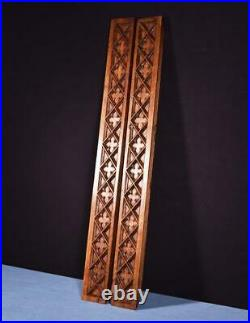 Pair of Large Antique Gothic Carved Architectural Panels/Trim in Solid Oak Wood